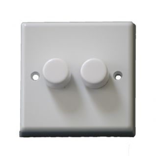 Dimmer Switch 2 Gang 2 Way Rotary Control 400w 400VA Push ON/OFF White